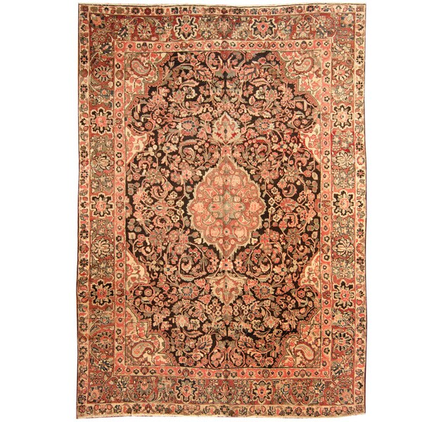 Herat Oriental Persian Hand-knotted 1920s Antique Tribal Mahal Wool Rug - 8'8 x 12'2