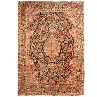 Herat Oriental Persian Hand-knotted 1920s Antique Tribal Mahal Wool Rug (8'8 x 12'2)