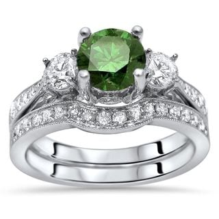 Noori Certified 1 1/2ct Green Round Diamond 3 Stone Engagement Ring Bridal Set 14k White Gold