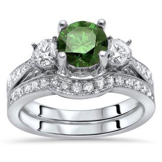 Noori Certified 1 1/2ct Green Round Diamond 3 Stone Engagement Ring Bridal Set 14k White Gold