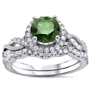 Noori Certified 14k White Gold 1 1/4ct TDW Green Round Diamond Engagement Ring Bridal Set (Green/F-G, SI1-SI2)