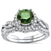 Noori Certified 14k White Gold 1 1/4ct TDW Green Round Diamond Engagement Ring Bridal Set (Green/F-G, SI1-SI2)