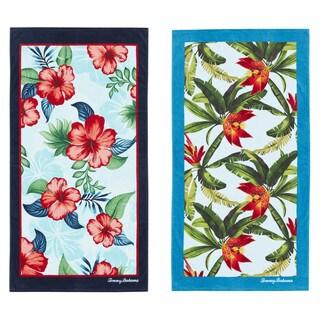 Seaside Hibiscus Navy/Tropical Swim Aqua 2-piece Beach Towel Set