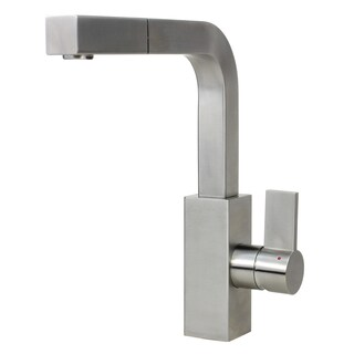 Solid Stainless Steel Lead Free Brushed Nickel Single Handle Pull Out Kitchen / Island / Bar Faucet