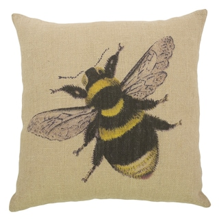 Bee Black and Yellow Burlap 18-inch Throw Pillow