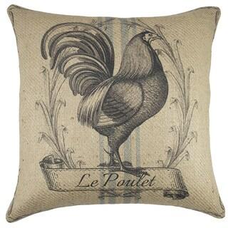 Farmhouse Chicken Burlap 18-inch Throw Pillow