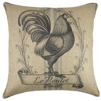 Farmhouse Chicken Burlap 18-inch Throw Pillow