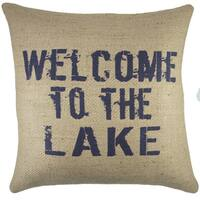 Welcome to the Lake Burlap Throw Pillow 18-inch