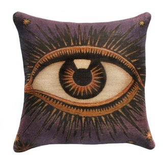 Purple Eye Burlap 18-inch Throw Pillow