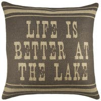 Life is Better at the Lake Burlap Throw Pillow 18-inch