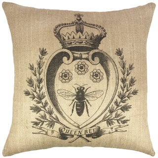 Bee with Crown Burlap Throw Pillow 18-inch