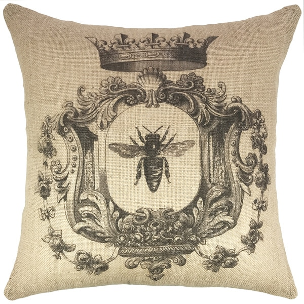 French Bee Burlap 18-inch Throw Pillow