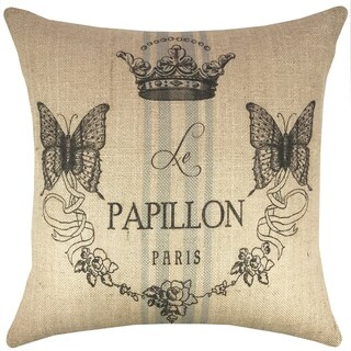 Butterfly French Burlap 18-inch Throw Pillow