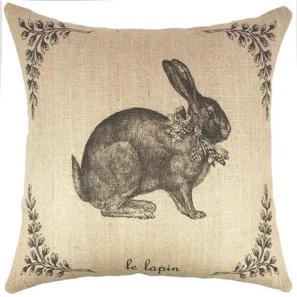 The Watson Shop French Hare Black Jute Burlap 18-inch Throw Pillow