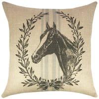 Horse Grain Sack Burlap 18-inch Throw Pillow