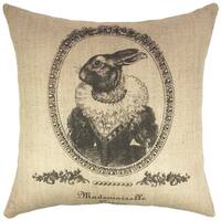 Vintage Bunny Black Burlap 18-inch Throw Pillow