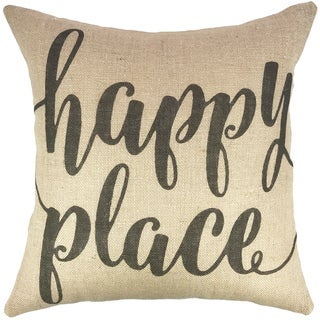 Happy Place Burlap Throw Pillow 18-inch