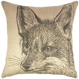 Fox Burlap 18-inch Throw Pillow
