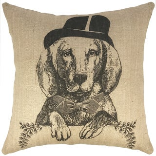 Dog Black Burlap 18-inch Throw Pillow