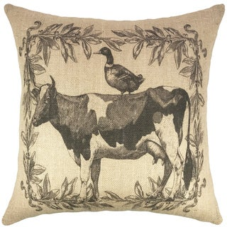 Black/Brown Burlap Farmhouse Throw Pillow