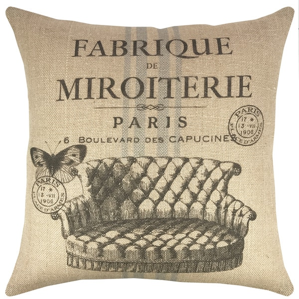 Paris Multicolor Burlap 18-inch Throw Pillow