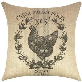 Chicken Grain Sack Burlap 18-inch Throw Pillow