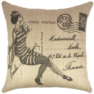 The Watson Shop Vintage Swimsuit Black Burlap 18-inch Throw Pillow