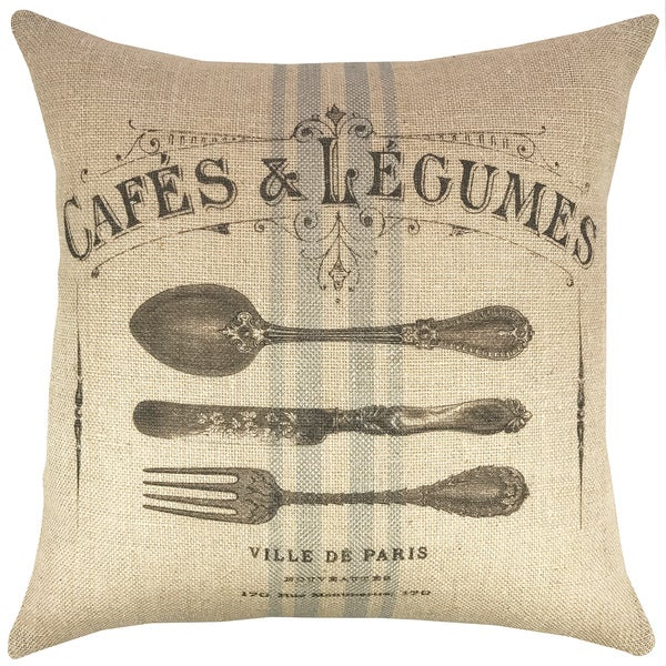 Cafe 18-inch Burlap Throw Pillow