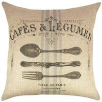 Cafe 18-inch Burlap Throw Pillow