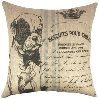 Dog Grainsack Burlap 18-inch Throw Pillow