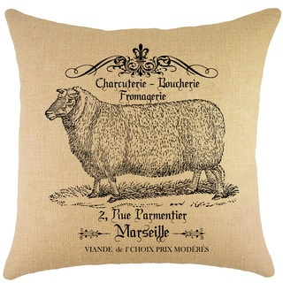 French Sheep Burlap 18-inch Throw Pillow
