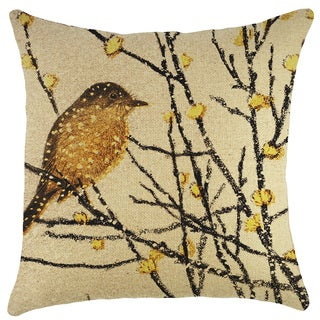 Yellow Bird Burlap 18-inch Throw Pillow