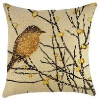 Yellow Bird Burlap 18-inch Throw Pillow