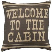 'Welcome to the Cabin' Brown Burlap 18-inch Throw Pillow