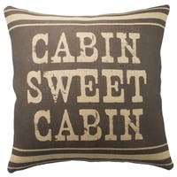 The Watson Shop Cabin Sweet Cabin Brown Burlap 18-inch Throw Pillow