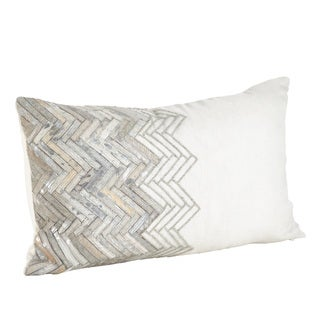 Ivory Beaded Chevron Cowhide Down Filled Throw Pillow