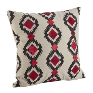 Red & Black Southwestern Print Down Filled Throw Pillow
