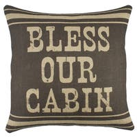 Bless Our Cabin Burlap Throw Pillow 18-inch