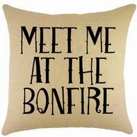 Meet Me At The Bonfire Burlap 18-inch Throw Pillow