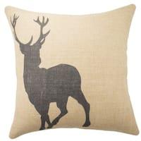 Deer Burlap 18-inch Throw Pillow