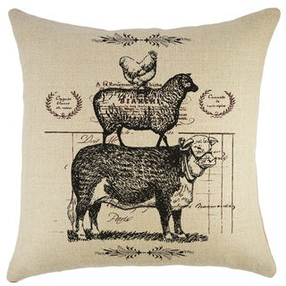 Cow Sheep Chicken Black and Tan Burlap 18-inch Throw Pillow