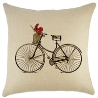 Bike with Flowers Burlap 18-inch Throw Pillow