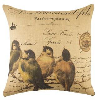 Birds on a Branch Burlap 18-inch Throw Pillow