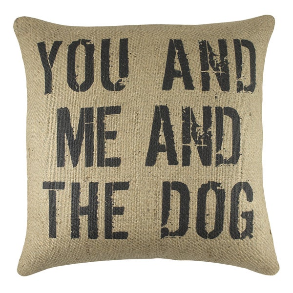The Watson Shop 'You And Me And The Dog' Brown Burlap 18-inch Throw Pillow