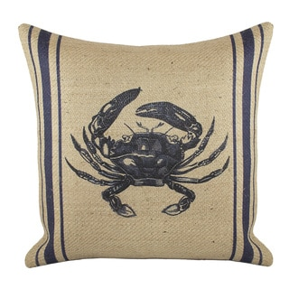 18-inch Burlap Crab Throw Pillow