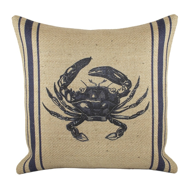 18-inch Burlap Crab Throw Pillow
