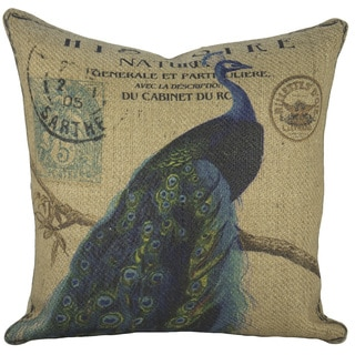 Peacock Burlap 18-inch Throw Pillow
