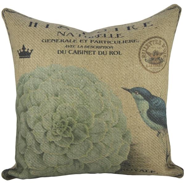Hydrangea Blue Burlap 18-inch Throw Pillow