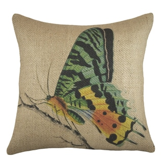 18-inch Burlap Butterfly Throw Pillow