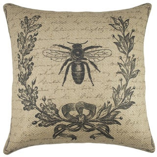 Bee Script Burlap 18-inch Throw Pillow